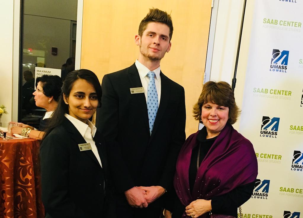 . UMass Lowell student alumni ambassadors Surbhi Mavi (Class of 2020) and Drew Lambert (Class of 18), both of Lowell, and Maria Teles of Dracut
