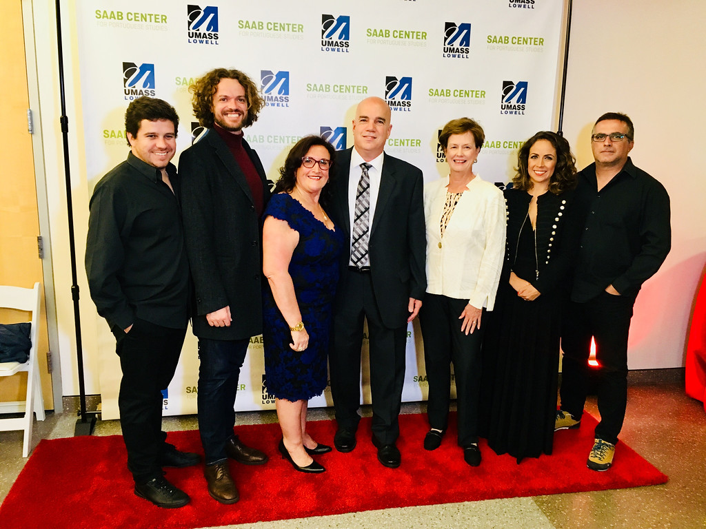 . From left, fado artists Tiago Silva and Duarte, Elisia and Mark Saab of Lowell, UMass Lowell Chancellor Jacquie Moloney of Chelmsford, and artists Joana and Pedro Amendoeira