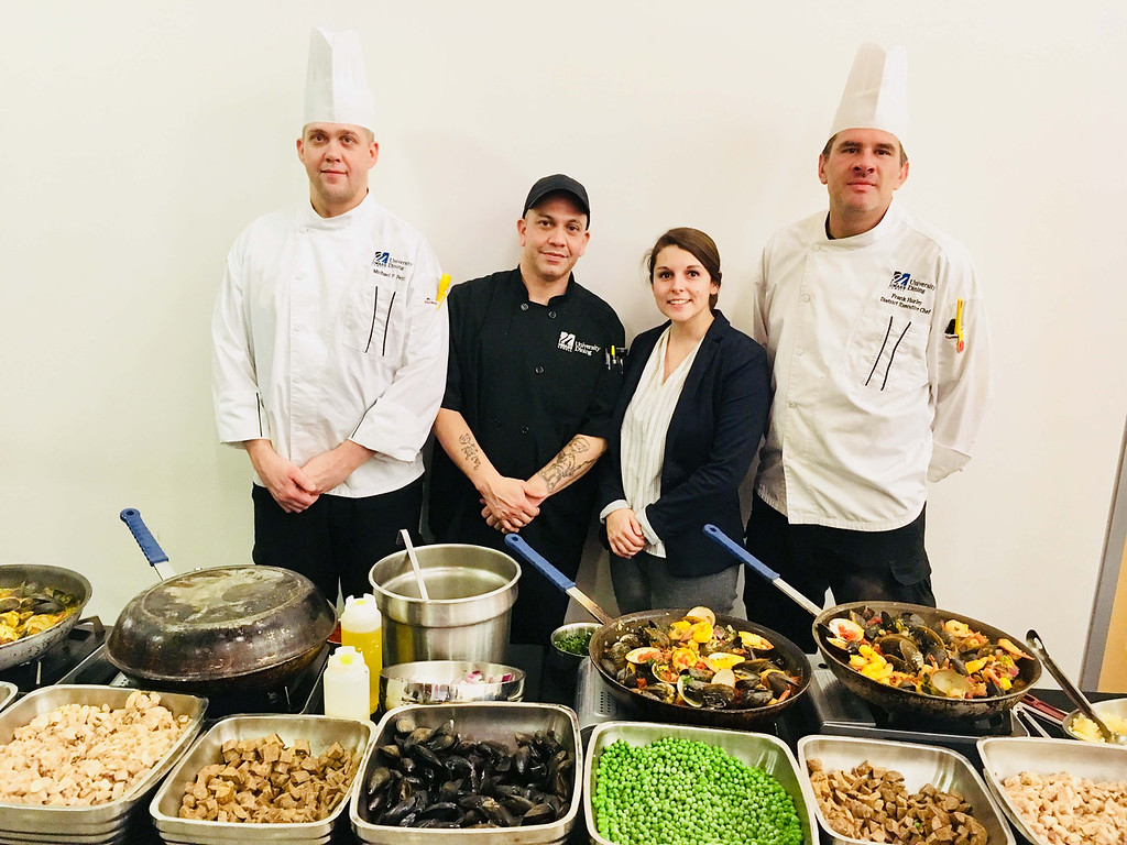 . UMass Lowell Aramark representatives, from left, Executive Sous Chef Mike Petit of Dracut, Omile Albino of Lowell, Tabatha Garnett of Woburn and District Executive Chef Frank Hurley of Bedford N.H.