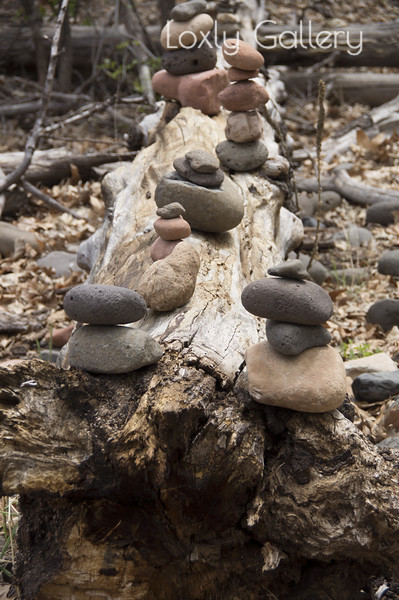 Buddha Rock Cairns on Buddha Beach (Buddha Garden) on Oak Creek near Red Rock Crossing.