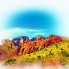 Airbrush art of Red Rock Canyon in Nevada by digital artist and photographer Deborah Carney DSCN4353