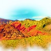 Airbrush art of Red Rock Canyon in Nevada by digital artist and photographer Deborah Carney DSCN4342