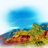 Airbrush art of Red Rock Canyon in Nevada by digital artist and photographer Deborah Carney DSCN4347