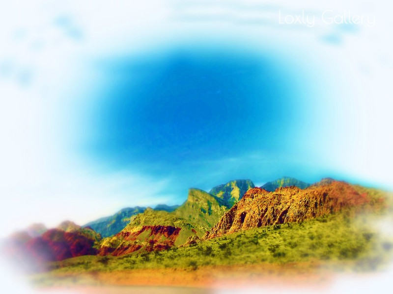 Airbrush art of Red Rock Canyon in Nevada by digital artist and photographer Deborah Carney DSCN4361
