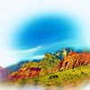 Airbrush art of Red Rock Canyon in Nevada by digital artist and photographer Deborah Carney DSCN4345