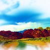 Airbrush art of Red Rock Canyon in Nevada by digital artist and photographer Deborah Carney DSCN4351