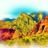 Airbrush art of Red Rock Canyon in Nevada by digital artist and photographer Deborah Carney DSCN4359