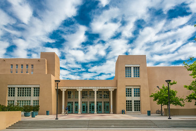 Drawing upon his interest in the preservation, restoration, and revival of the local indigenous architecture, Santa Fe architect John Gaw Meem designed an exquisite complex of Spanish Pueblo Style buildings at the University of New Mexico, from 1934-1959. After seventy five years, Meem's Zimmerman Library (1938) remains, architecturally and symbolically, the iconic centerpiece of the campus and still functions as the main university library. As intended by Meem, Zimmerman, like the local pueblo buildings which served as its model, expands with the needs of faculty, students, staff, and the local community, remaining the heart of UNM's lively modern campus, while retaining its character as one of New Mexico's premier historic buildings.