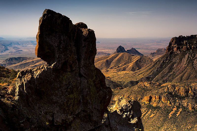 Juniper Canyon with Elephant Tusk Mountain and Northeast Rim of the Chisos in the distance. Big Bend National Park, Texas