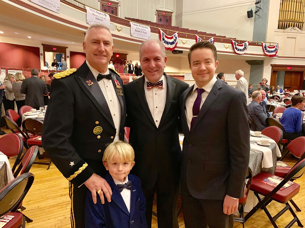 . From left, Brig. Gen. (Ret.) Jack Hammond with Wyatt Larkin of Reading, Ironstone Farm board Chairman Peter Volonino of Chelmsford and Shea Hammond of Reading