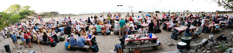 "Clambake Panorama -- a great party from one end of the beach to the other! Hit ""Slideshow"" for the full effect. ENJOY."