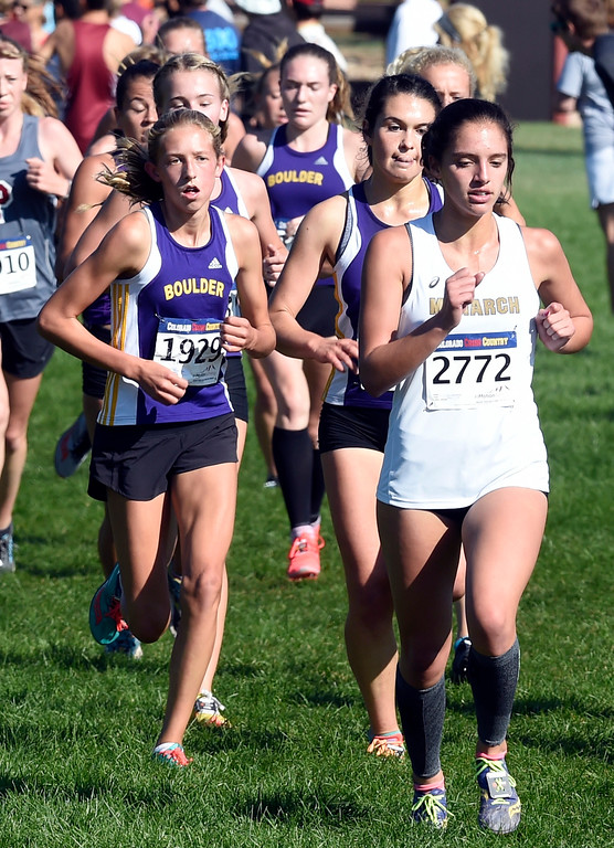 . LYONS, CO: September 8:  Stella Vieth, left, of Boulder, and Anna Wexler, of Monarch, during the St Vrain Invitational Cross Country Meet. (photo by Cliff Grassmick/Staff Photographer).