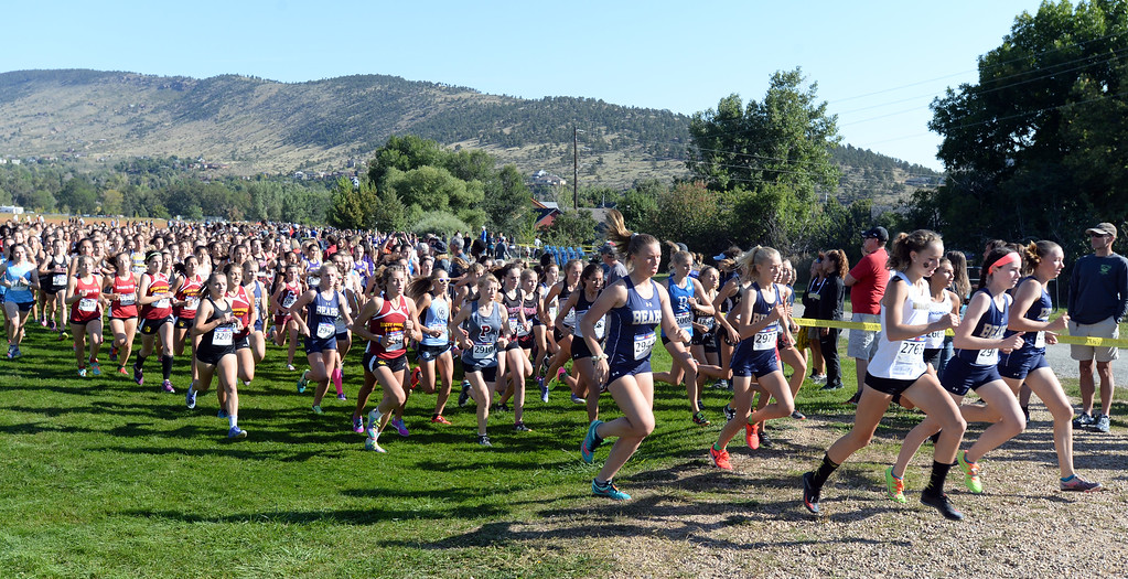 . LYONS, CO: September 8:  The 4A/5A girls race during the St Vrain Invitational Cross Country Meet. (photo by Cliff Grassmick/Staff Photographer).