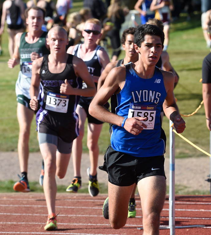 . LYONS, CO: September 8:  Isaac Roberts, of Lyons, was 3rd in the 2A/3A race of  the St Vrain Invitational Cross Country Meet. (photo by Cliff Grassmick/Staff Photographer).