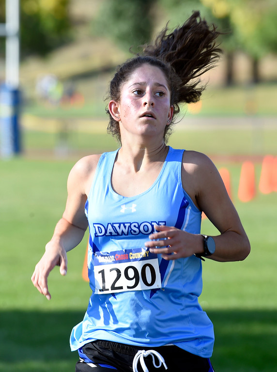 . LYONS, CO: September: Lucca Fulkerson, of Dawson, was second in the 2A/3A race of the St Vrain Invitational Cross Country Meet. (photo by Cliff Grassmick/Staff Photographer).