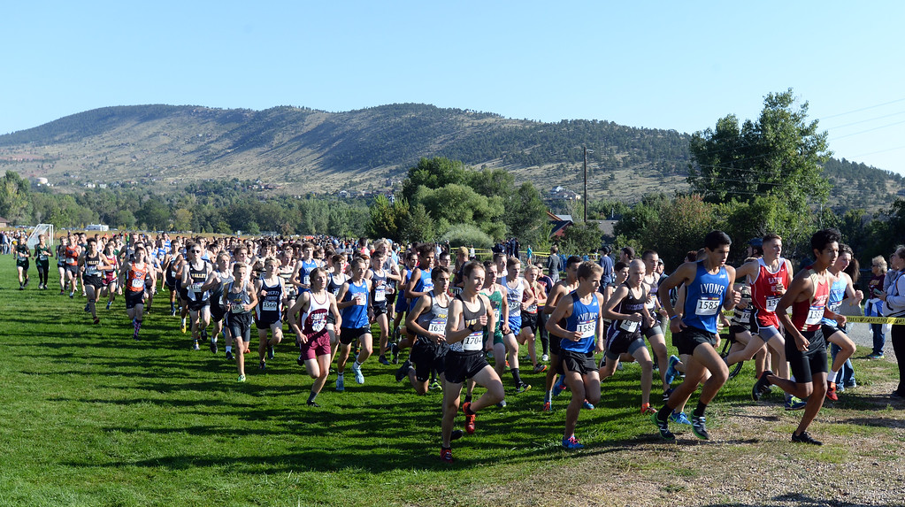 . LYONS, CO: September 8:  The boys 2A/3A race during the St Vrain Invitational Cross Country Meet. (photo by Cliff Grassmick/Staff Photographer).