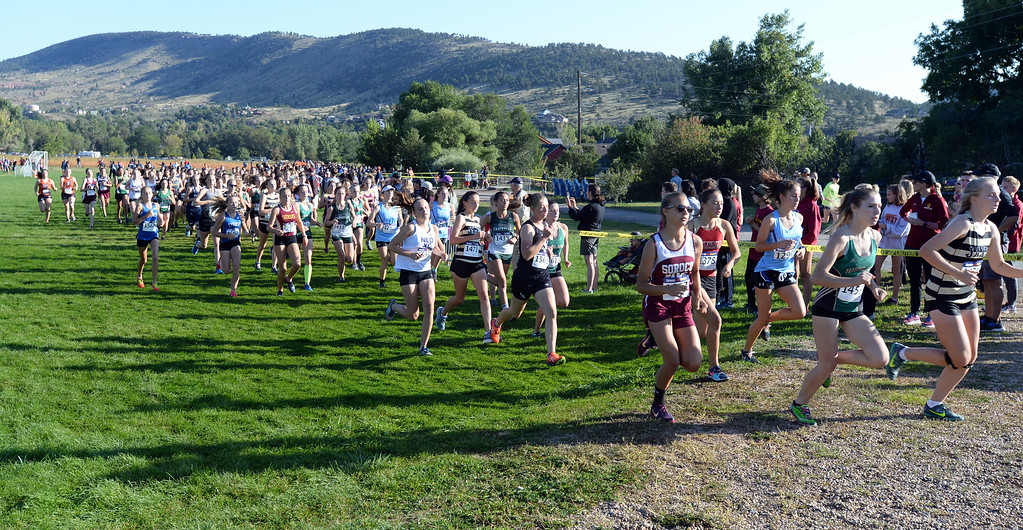 . LYONS, CO: September 8:  The start of the 2A/3A girls race during the St Vrain Invitational Cross Country Meet. (photo by Cliff Grassmick/Staff Photographer).