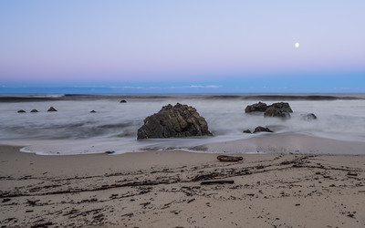 Garrapata Beach, California, moonset, January 2017.