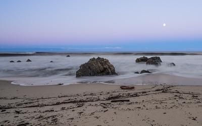 Garrapata Beach, California, moonset, January 2017.