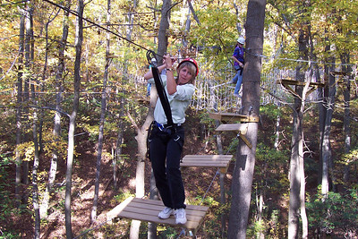 Kim on the high ropes course