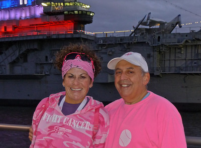 Roger and I in front of the Intrepid as the day begins.