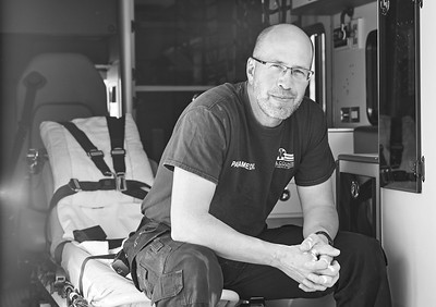 Paramedic DUKE KOERPERICH photographed at his ambulance station in Hiawatha, KS.