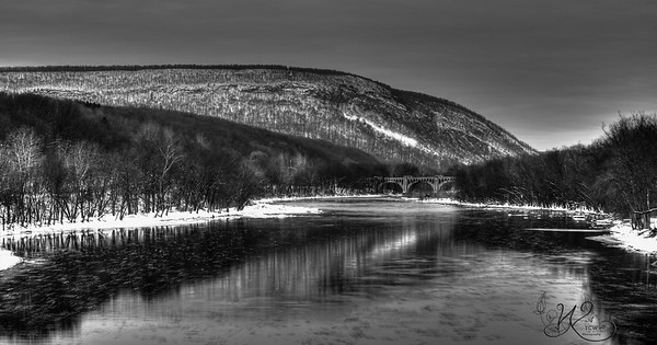 Delaware River in Winter B&W
