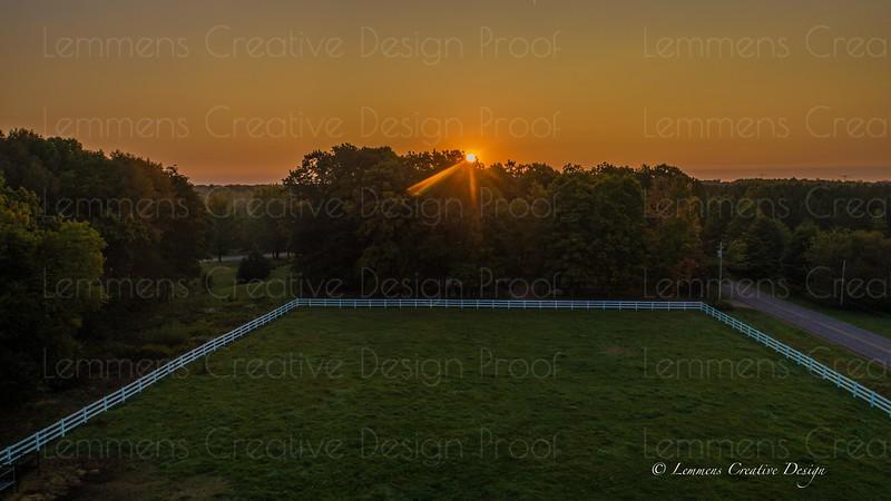 Sun over pasture