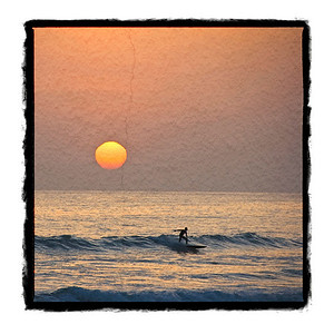 Sunset surfer. Texture and border.