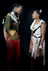 Kudanzai Munodawafa as Caliban and Savannah Jackson as Miranda in The Tempest Directed by Miriam Bennett. Music by Aman Almeida and Andy Karkosiak. Costume Design by Aramay Moss  photo by Miriam Bennett