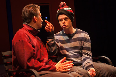 The Totalitarians at Z Below, November 19 to December 14 at Z Below. Written by Peter Sinn Nachtrieb, Directed by Ken Prestininzi. Left to Right: Liam Vincent as Jeffrey, Andrew Humann as BenPhoto by Mark Leialoha