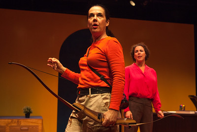 The Totalitarians at Z Below, November 19 to December 14 at Z Below. Written by Peter Sinn Nachtrieb, Directed by Ken Prestininzi. Left to Right: Jamie Jones as Penelope, Alexis Lezin as FrancinePhoto by Mark Leialoha
