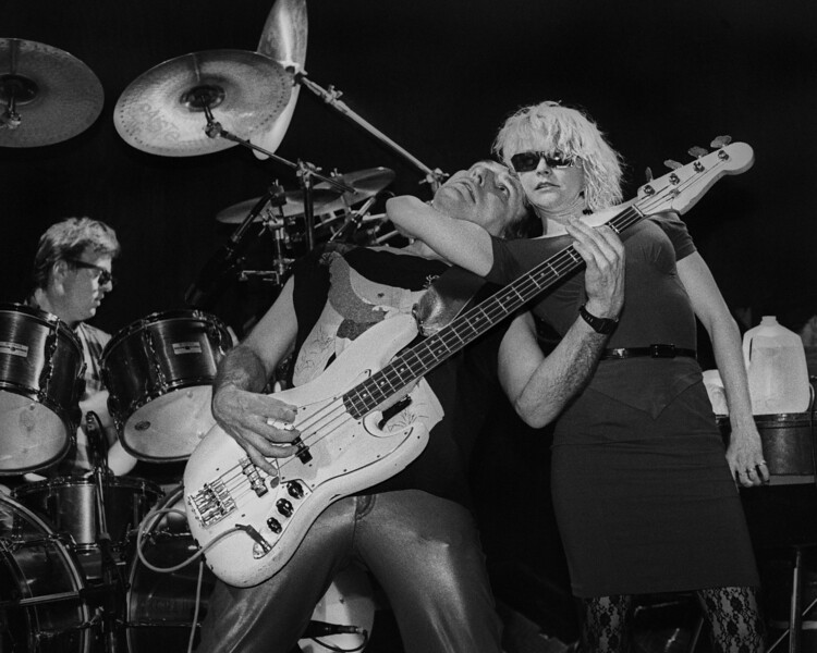 The Tubes performing at The Stone in San Francisco in 1985. (L-R): Prairie Prince, Rick Anderson, Michele Gray).