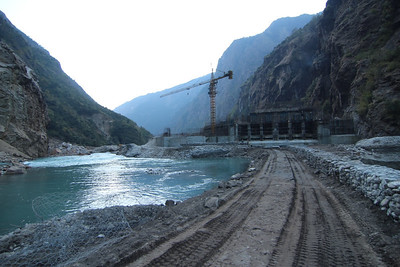Headworks construction of the 456MW Upper Tamakoshi Hydropower Project. Lamabagar, Dolakha. 2013.