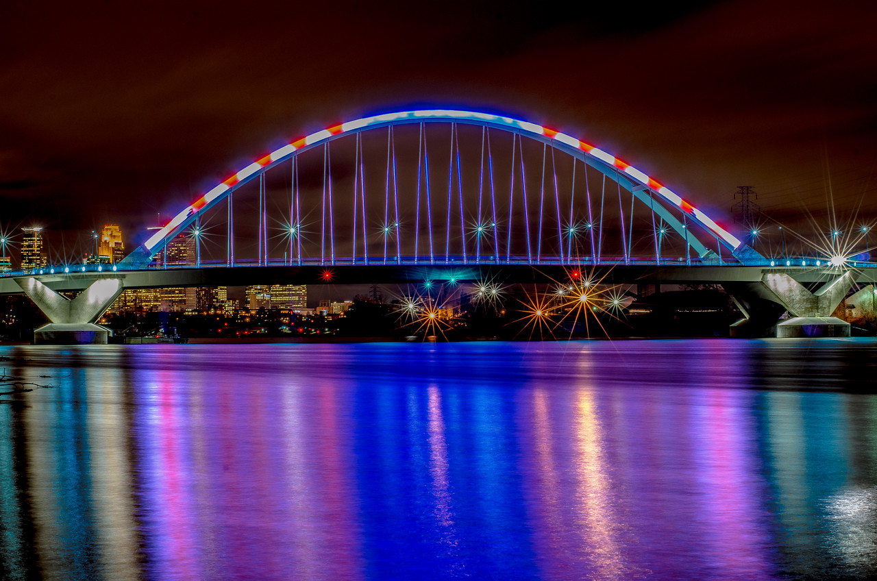 """My Country, 'Tis of Thee""  The ever changing colors of the Lowry Ave bridge.  On Nov 6th, it was red, white and blue for the election!"