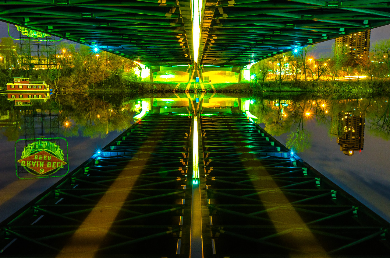 Under the Hennepin Ave bridge, Downtown Minneapolis - Color
