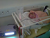 Bathany sound asleep in her cost in Ealing.  Heart rate & Saturation monitor glowing brightly.