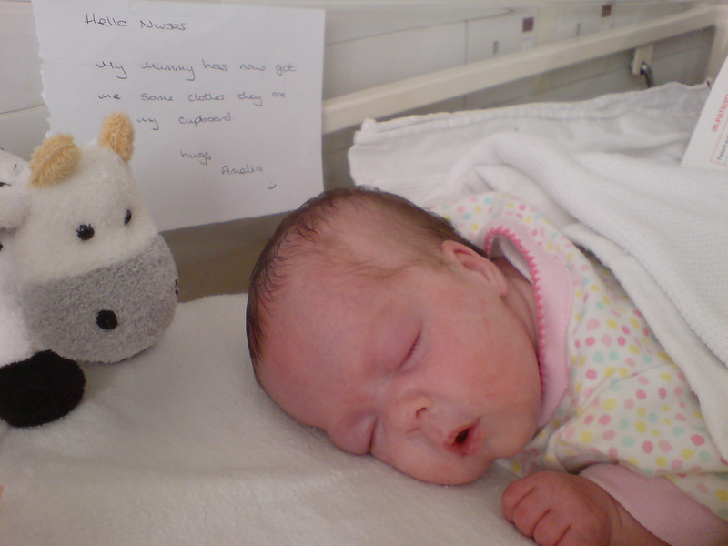 Amelia in her cot with her first toy, moo-cow.  Notice how she's already writing notes to the nurses :-)