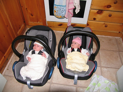 Ready to go....  2 babies = 2 maxi cosi seats (1 on loan - thank you)