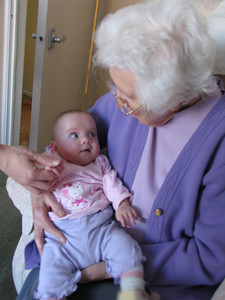 Bethany looking up at Great Grandma...