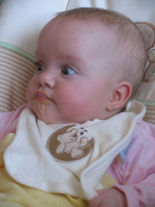 January 2009... the start of solid food... and more dribbling...