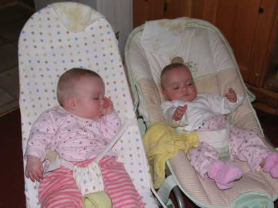 """The two of them side-by-side in their respective bouncers.  Funny but Amelia hated the comfy one and would only accept the one on the left.  Bethany was the opposite, so they always had """"their own""""."""