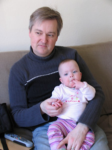 Daddy and Amelia.  We'd never get away with leaving the sky remote in such close reach now (Feb 2010)