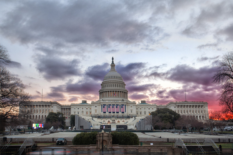 The US Captiol on the weekend of the 2013 Inauguration at sunrise