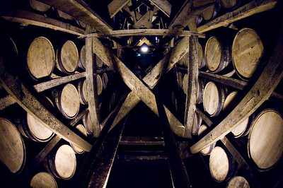 Bardstown, Kentucky - Heaven Hill bourbon ages in these charred oak barrels.