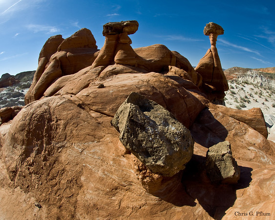 "These formations are called ""Toadstools"".  Southern, Utah."