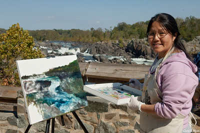 Great Falls National Park, Virginia - A local artist, Ling Ling, let me photograph her  painting at one of the overlooks