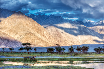 HDR (high dynamic range) image of Nubra river in Nubra valley in Himalayas, Hunder, Ladakh, India.