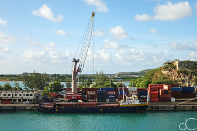 Container Ship, Port of St. John, Antigua and Barbuda, May 2018.