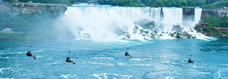 Ziplining Past the American Falls, Niagara Falls, Ontario, Canada, August 2018.